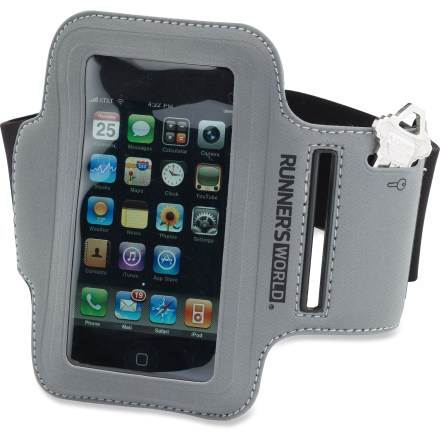 Fitness The Runner's World Sport armband secures most digital music players (sold separately) so you can listen to your tunes while out for a run. Water-resistant pocket measures approximately 4.75 x 2.6 in. and will fit many portable electronic devices. Small slip pocket is sized specifically for a house key. Reflective exterior increases visibility in low light. Runner's World Sport armband has a stretchy band that fits arms up to about 17 in. around and down to about 10 in. around. - $9.93