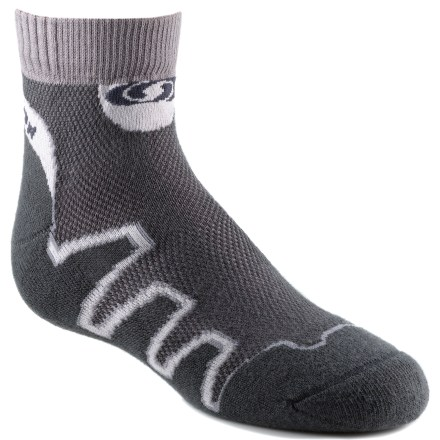 Fitness The Salomon XA trail socks are geared for running adventures to keep feet cool for optimal performance. Cotton fabric is naturally soft, breathable and comfortable; polyamide fibers wick moisture away from feet. Ventilated mesh panel increases breathability, keeping feet dry. Sensi-fit design wraps your foot in comfort and cushioned support. Flat toe seam reduces bulk. Special buy. - $2.83