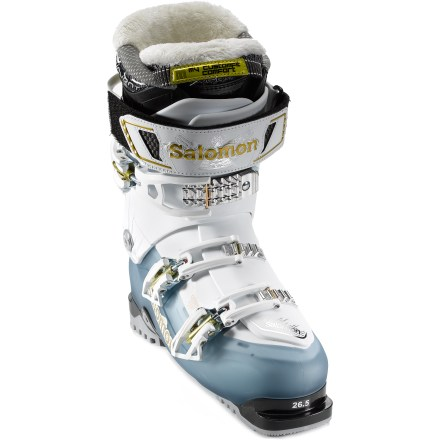 Ski The women's Salomon Quest ski boots offer you the option of hiking for your turns. Specialized ski/hike mechanism frees the upper cuff from the lower part of the boot and offers enough movement to comfortably hike to untouched stashes. When you're ready to ski, the cuffs lock directly into the lower shell to maximize power transmission on the descent. Innovative V-shaped lower shell and magnesium backbone virtually eliminate flex when backbone is engaged. Waterproof fabric along the sides of the tongues helps keep feet dry, even when hiking in deep powder. Women-specific liners feature upper cuffs that are shaped around women's calf muscles, a wider forefoot area and low volume around the ankles. Comfortable liners feature a layer of thermal-formable foam that personalizes the fit along the front of the ankle. Moisture-wicking layers of mesh, foam and insulation in liners efficiently transfer chilling sweat away from feet. Liners disperse more moisture than standard liners, helping keep feet dry and warm. Closed-cell foam under the boot boards softens hard landings. Fixed, rear spoiler enhances forward lean. Rubber soles offer excellent traction on slippery surfaces. With a flex index of 80, Salomon Quest ski boots provide a power transfer suitable for intermediate skiers. - $233.83