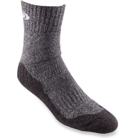 Camp and Hike Travel up the trail in comfort with the well-cushioned Salomon Classic Trek socks. Merino wool/acrylic/polyamide/elastane blend fabric is highly breathable, moisture wicking and well cushioned. Stay-up comfort top keeps socks in place. Ventilated mesh panel increases sock's breathability and disperses moisture quickly. Elastic arch support and reinforced foot sole supply all-day comfort. Flat toe seam reduces bulk. Special buy. - $12.93