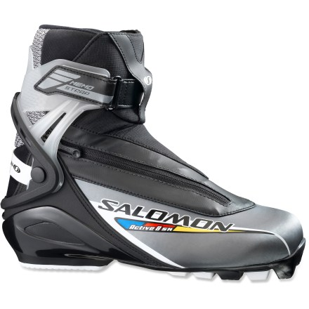 Ski The sporty Salomon Active 8 skate boots offer lots of performance for dedicated skiers who want to have fun and get in a great workout. - $99.93