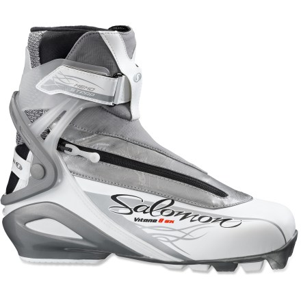 Ski The sporty Salomon Vitane 8 skate boots offer lots of performance for dedicated female skiers who want to have fun and get a great workout in. - $114.93