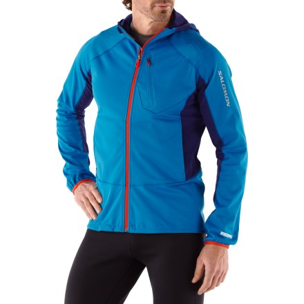 Fitness Hang the men's Salomon XT WS Softshell jacket right next to the door for a quick grab for the morning run. When the weather is blustery you'll be protected from the wind without overheating. Gore WindStopper(R) fabric eliminates windchill, yet it's breathable and capable of quickly dissipating excess moisture to keep you dry and warm. Back and underarm panels of stretchy fabric promote natural arm movement and boost ventilation. Full-length zipper makes it easy to get in and out of the top if you need to change or add a layer; zippered pockets store any extras you need to take with you. Thumbholes help keep sleeves in place when arms are in motion, and fitted hood helps retain heat. Shockcorded adjustment at hem shuts out drafts. Reflective logo on front and back increases visibility in low light. The active fit of the Salomon XT WS Softshell jacket offers no extra fabric to get in your way during movement-intensive activities. - $139.93