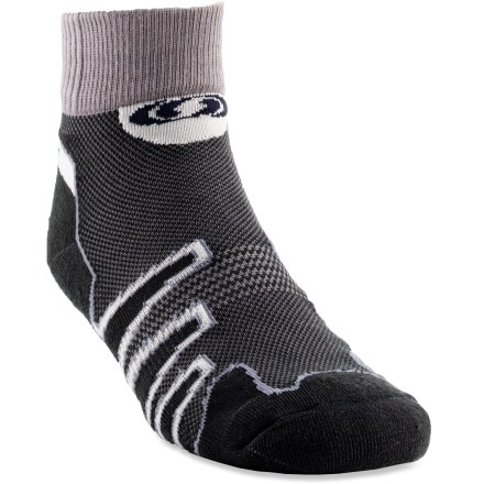 Fitness The Salomon XA trail socks keep feet comfortable during intense activities. Cotton fabric is naturally soft, breathable and comfortable; polyamide fibers wick moisture away from feet. Ventilated mesh panel increases breathability, keeping feet dry. Sensi-fit design wraps feet in comfort and cushioned support. Flat toe seams reduce bulk. Special buy. - $8.93