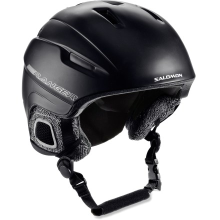 Ski The Salomon Ranger RE snow helmet offers undeniable comfort and unbeatable ventilation in a sporty design, making it a great choice for all-mountain riders. Injection-molded construction yields a lightweight helmet you can wear comfortably all day long. Active ventilation system promotes cooling airflow. Soft lining is removable and washable. Removable ear pads offer soft, comfortable ear protection; remove the pads to regulate temperature. Adjustable chin strap won't irritate skin. Goggle keeper holds goggles in place. This snow helmet complies with ASTM F 2040 and/or CE EN 1077 alpine ski and snowboard helmet safety standards; for additional information please see REI expert advice. - $75.83