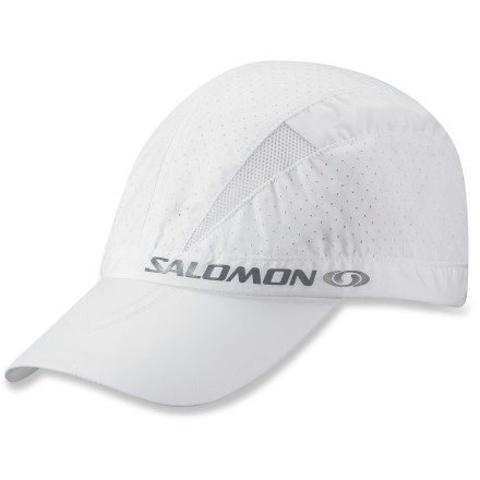 Fitness When you hit the trail for a run in hot weather you need a hat that breathes. The lightweight Salomon XA hat has built-in vents to help keep your head cool. Polyester exterior has perforations throughout and mesh panels to allow cooling airflow. Sweatband wicks moisture off your brow. Salomon XA hat has reflective detailing to increase your visibility in low light. Size Small/Medium fits head circumferences of 54 - 56cm; size Large/X L fits head circumferences of 57 - 59cm. - $9.83