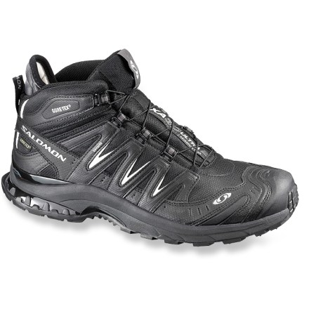 Camp and Hike The Salomon XA Pro 3D Ultra Mid 2 GTX hiking shoes deter soggy trails from bogging you down, keeping your feet dry and comfortable with Gore-Tex(R) waterproof protection and a versatile platform. - $84.83