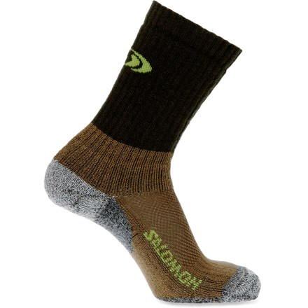 Camp and Hike Designed for cool-weather trekking, these Salomon Premium hiking socks keep your feet happy with just the right amount of cushioning. Extra fine merino wool and silk are blended with nylon for supersoft socks that stand up to heavy wear. Vented mesh panels on top of feet keep air circulating. Reinforced heels and toes. Medium cushioning underfoot is perfect for long hikes. Flat seams won't irritate your toes. Special buy. - $12.83