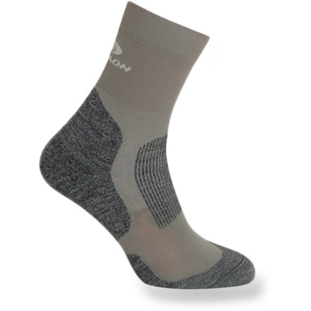 Camp and Hike A staff favorite at Salomon, these Expert hiking socks help you go the distance, whether you're hiking, trail running or fastpacking. Synthetic blend wick moisture, dry quickly and naturally resist odors. Mesh vents keep air circulating, helping your feet stay dry. Anatomic, left- and right-specific fit prevents fabric bunching, reducing likelihood of blisters. Salomon Expert hiking socks sport knitted arch supports that reduce foot fatigue. Flat seams won't irritate toes. Special buy. - $9.73