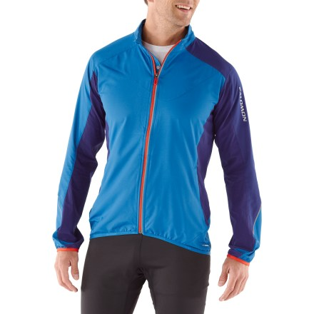 Fitness A breathable jacket well-suited for cool weather, the Salomon XR jacket keeps chilly air out so you can enjoy your run. Stay warm with windproof polyester and a soft, moisture-dispersing interior. Stretch panels along sides, underarms and sleeves encourage free range of motion and ample airflow. Full zipper allows easy, on-the-go layering and venting. Thumbholes secure sleeves over hands for warmth. Zip hand pockets secure small workout essentials. Salomon XR jacket features an active fit-perfect for aerobic pursuits. - $68.93