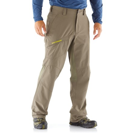 Camp and Hike Built to keep up with your adventurous lifestyle, the Salomon Contour pants are ready for backpacking trips and rock climbs. Polyester fabric is blended with spandex for a comfortable amount of stretch while you're on the trail. Fabric offers a good balance between breathability and wind resistance that's ideal for aerobic activities. Asphalt color includes 2 zippered hand pockets, a zippered rear pocket and a zippered thigh pocket that allow secure storage of trail items. Swamp color includes 2 slash hand pockets, a zippered rear pocket and rip-and-stick thigh pocket. Asphalt color has shock cord at the cuffs so you can cinch the pants around your boots to keep debris out. The Salomon Contour pants have a relaxed fit. - $69.93