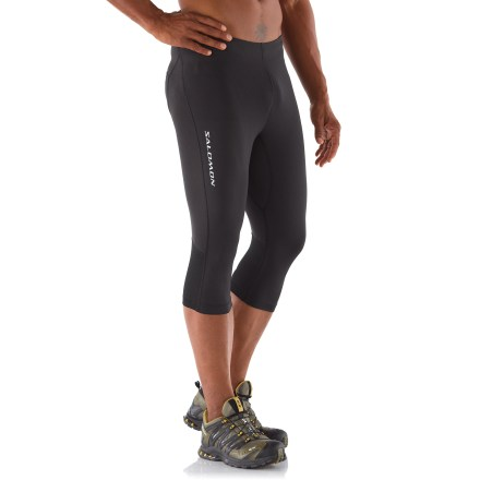Fitness Comfortable at the gym, on the trail or during your early morning workout, the men's Salomon Trail IV 3/4-length tights support hard-working muscles. Polyester and elastane fabric wicks moisture, dries quickly and protects skin from harsh UV light with a UPF rating of 50+. Mesh panels behind knees increase breathability. Waistband with an adjustable drawcord ensures a comfortable fit. Zippered rear pocket stores energy gel, debit card or key. Reflective logos on the front and back increase visibility in low light. Salomon Trail IV 3/4-length tights offer a next-to-skin fit. - $44.93