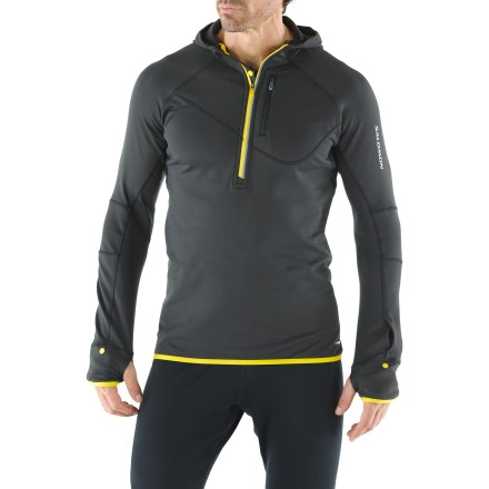 Fitness The Salomon Swift Midlayer hoodie will keep you on track during your workouts this winter. Stretch-knit fabric wicks moisture and dries quickly; its soft, fleecy interior will keep your spirits up on cool-weather runs. Half-zip front allows quick ventilation and easy on/off. Handwarmer pockets offer a cozy spot to warm chilly digits. Thumbholes secures sleeves over palms for warmth. Zippered chest pocket stashes small valuables. Watch window in sleeve lets you keep an eye on the time. Salomon Swift Midlayer hoodie features an active fit-perfect for aerobic pursuits. - $83.93