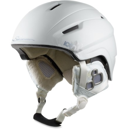 Ski The sporty Salomon Icon RE snow helmet is a great choice for hard-charging skiers and boarders. In-mold shell construction yields a lightweight helmet you can wear comfortably all day long. Active ventilation system promotes airflow to keep you cool; vents can be shut to conserve heat with an easy-to-use switch on top of helmet. Women-specific liner is designed to comfortably accommodate long hair; liner and shell shaping accept ponytails. Removable earpads with soft faux fur; remove pads to regulate temperature. Adjustable chin strap with faux fur lining won't cause irritation. Stretch goggle keeper holds your goggles in place. The Salomon Icon RE snow helmet complies with ASTM F 2040 and/or CE EN 1077 alpine ski and snowboard helmet safety standards. Closeout. - $84.93