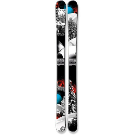 Ski The junior's Salomon Rocker2 skis offers huge performance with dimensions suited to young skiers. - $99.93
