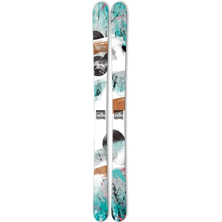 Ski The women's Salomon Geisha 100 skis offer you the versatility to explore the powder that's waiting off the lift as well as the groomed runs that get you there. These skis were made for the deepest of the deep, the fluffiest of the fluff, and the softest of the soft, but they also transition well onto groomed runs. Full-wood core delivers direct transmission of power with precision and efficiency; designed for demanding skiers who require high performance. Bamboo fibers in the topsheet add natural flex and pop; crushed basalt is added to a fiberglass-like fiber that is placed above the wood core to absorb shock. Perfect for pulling off freeski maneuvers, a single-layer cap design provides precise edge grip and efficient energy transfer from skier to snow. Elastomer inserts placed over the edges absorb vibrations, resulting in a smooth ride that softens ski-to-snow contact. All-terrain rockered tips excel in soft snow and deliver fluid performance on hardpack; when put on edge, 95% of edge length contacts snow to offer precision on groomed runs. Slightly raised tails let you ride backward if needed and stick the occasional switch landing. Strong polyethylene fiber threaded between the edges of the skis increases edge strength to withstand big impacts. Wide metal edges withstand big impacts and improve shock resistance. The Salomon Geisha skis require wide brakes. Base or topsheet color may vary from online photo. - $485.93