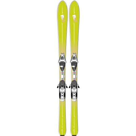 Ski The women's Salomon BBR Limelite skis with bindings offer a whole new ski shape to help you enjoy the day out on the mountain. Slightly stiffer and more responsive than the BBR Skylites, the Salomon BBR Sunlite skis excel on groomed runs and hold their own when heading off-piste. Instead of the traditional parabolic or X-shaped profile found in most modern skis, the BBRs use a V-shaped profile to achieve a great balance between flotation and carving. Tips are wider than the tails by at least 36mm, creating a progressive sidecut that initiates and exits turns with ease. Tips are also shaped to reduce weight and minimize chatter when carving at high speeds. Wide, surfboard-inspired tips feature a very low profile rise that floats in powder and smooths out the ride in rough terrain. Narrowest part of waist is behind heels, allowing a versatile weight distribution on skis. Pintail releases out of turns easily and enhances control. Composite foam core damps vibrations to keep the ride smooth, and its responsive nature serves up palpable snow feel and precise control. Monocoque construction uses a single-layer cap design to promote response and maneuverability, and additional structure in the topsheet enhances responsiveness. Elastomer inserts placed over the front of the skis absorb vibrations, resulting in a smooth ride that softens ski-to-snow contact. Relatively narrow waist offers a tight turning radius and enhances grip on firm snow. Slightly raised tails let you ride backward and stick the occasional switch landing. L9 bindings are light on your feet, letting you ski all day with little fatigue. Lightrak system uses composite materials and titanium to reduce the overall weight of the skis and increase maneuverability. Integrated bindings let skis flex naturally and channel power directly to edges for ultimate feel and control. High elasticity provides excellent shock absorption. - $329.83