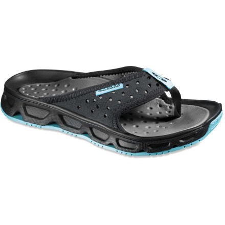 Entertainment The Salomon RX Break LTR flip-flops supply plush cushioning to help feet recover after a day on the trail or the slopes. - $21.73