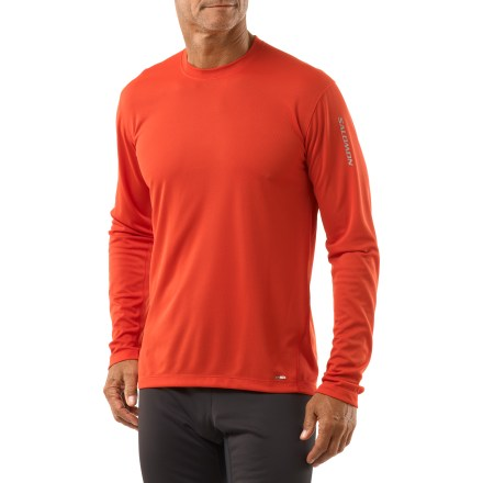Fitness Whether you're training in the gym or out in fresh air, the men's Salomon X T-shirt feels as great as it looks. Quick-drying polyester speeds moisture to the surface for evaporation. Flatlock seams reduce chafing. Reflective elements help keep you visible. Salomon X T-shirt features a relaxed fit. - $23.93