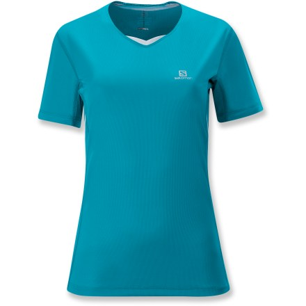 Fitness When heading out on your favorite trail, the Salomon Trail T-shirt is an easy choice. Polyester fabric speeds moisture to the surface and dries quickly. Flatlock seams on the Trail T-shirt slide smoothly over your skin, reducing chafing and increasing comfort. Stash pocket stores small accessories. Reflective branding increases visibility in dim light. The Salomon Trail T-shirt offers an active fit that is not too tight and not too loose. - $25.93