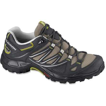 Camp and Hike The Salomon Ellipse GTX hiking shoes provide waterproof protection in a lightweight, agile and resilient design for all-weather, fast-paced hiking. - $119.95
