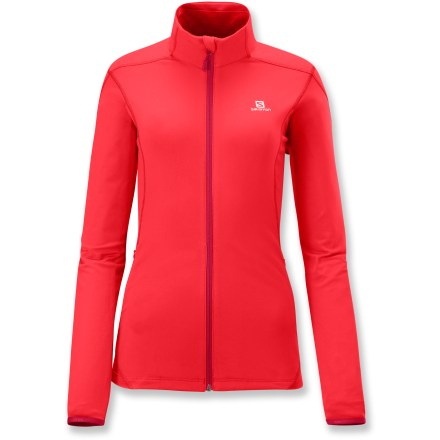 Fitness The women's Salomon Discovery Midlayer top is the perfect addition to a morning run. Stretchy polyester and elastane fabric wicks moisture and its soft, fleecy interior will keep your spirits up on cool-weather runs. Full-length zipper regulates ventilation; windflap helps keep heat next to your body, and fleeced collar feels soft against skin. Zippered side pocket secures essentials. Active fit offers a smooth feel during activity; side seams are thoughtfully placed to avoid abrasion. Salomon Discovery Midlayer top features reflective logos to increase visibility in dim light. - $58.93