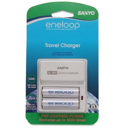 Camp and Hike The Sanyo Eneloop charger with 2 AA NiMH rechargeable batteries keeps you armed and ready to power up your many electrical gadgets. - $13.93