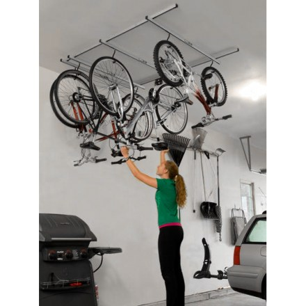 Fitness Store up to 4 bikes overhead with the Saris CycleGlide 4-Bike Ceiling Mount storage rack, saving precious floor space with its clever sliding design. - $245.00
