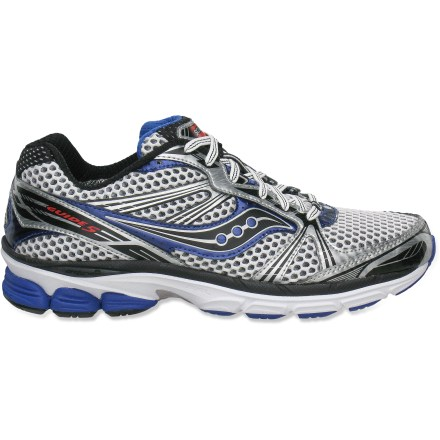 Fitness Saucony ProGrid Guide 5 road-running shoes feature an updated design with an 8mm heel-to-toe drop for smooth transitions, all while keeping the lightweight and stable training platform. - $54.93