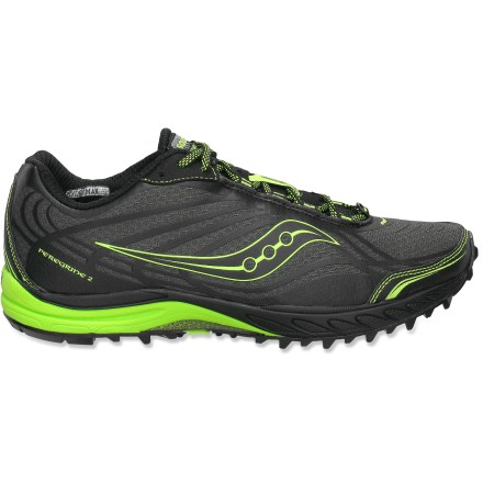 Fitness Saucony ProGrid Peregrine 2 men's trail-running shoes offer a neutral platform with exceptional grip and a low-profile, responsive ride for great feel and traction on trails. Lightweight, flexible and highly breathable nylon uppers boast synthetic leather and thermoplastic urethane overlays for structure and support. Uppers feature a loop for gaiter compatibility when you need extra protection; gusseted tongues help keep debris out when not using gaiters. 4mm heel-to-toe drop encourages a shorter, lower impact stride than traditional running shoes do. Padding beneath laces helps relieve lace pressure for extra comfort. Nylon linings breathe well, wick moisture and dry quickly to keep your feet cool and comfortable. Cushioning system in heels works in tandem with lightweight EVA midsoles to offer maximum cushioning and enhance efficiency and response. Strobel board construction boosts responsiveness and stability on uneven terrain. Thermoplastic urethane plates supply lightweight support and help protect feet from stone bruising. Sticky rubber outsoles on the Saucony ProGrid Peregrine 2 trail-running shoes are aggressively lugged for exceptional grip. - $69.93