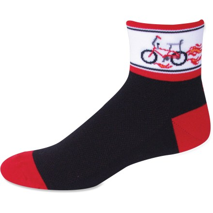 Fitness With a nod to the bikes of our youth, the Save Our Soles Classic 70s bike socks remind you where the bike love started. Socks are constructed from a blend of durable nylon and core-spun CoolMax(R) (polyester with a core of Lycra(R) spandex). Core-spun CoolMax (on the inside of socks) provides unsurpassed moisture management and maximum breathability; fabric pulls moisture out and away from skin. 3-ply nylon outer face enhances socks' strength and durability. Stretch cuffs provide a comfortable, non-slip fit. No-seam toe stitching helps prevent blisters. *Discount will be applied when you check out. Offer not valid for sale-price items ending in $._3 or $._9. - $6.93