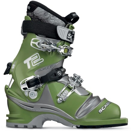 Ski Blending skiing performance and comfort with new-school construction, the Scarpa T2 Eco telemark boots will have you dropping a knee down steep terrain and blasting through epic powder stashes. Features Pebax Rnew(R) plastic that is made from castor plant oil rather than petroleum as most plastics are. Pebax Rnew peforms exceptionally well across a wide range of temperatures, ensuring consistent flex, strength and stability. Intuition Performance Tour liner blends high-density and regular-density Ultralon(R) foam for a great mix of performance, comfort and support. Tongue-style liner (as opposed to a wrap-style liner) provides easy entry and comfortable flex through the shin when touring. Custom thermal-formable liner is lightweight and toasty warm; liner can be custom molded to your foot by an REI ski shop professional for the optimal fit. 3 buckles are microadjustable to just the right snugness; instep buckle is positioned to provide excellent heel hold for touring up and skiing down. Replaceable edge guard protects boot's bellows from sharp ski edges while also dispersing buckle pressure. Dynamic Active Power Strap acts as a fourth buckle and provides excellent responsiveness on the slopes. Ski/walk mechanism locks and releases the cuff for downhill peformance and free-flex touring comfort; forward lean can be set at 16deg and 19deg. Adjustable canting mechanism allows you to customize the cuff alignment to your leg shape. Durable Vibram Flash lugged sole grips well when hiking; provides a solid interface with 75mm telemark bindings. - $349.93