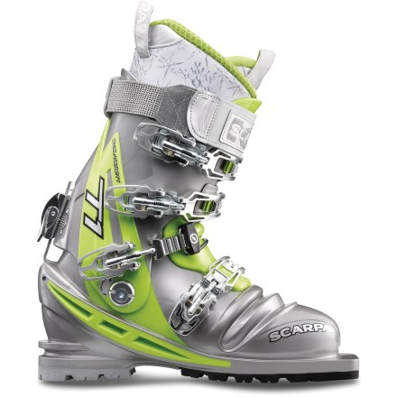 Ski Powerful Scarpa T1 women's telemark boots combine stiff shells, burly buckles and high-performance Intuition liners to give you maximum control for steering wide skis down steep lines. - $278.93