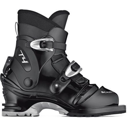 Ski Scarpa T4 75mm backcountry boots bridge the gap between lightweight leather boots and heavy-duty plastic boots to give you control and comfort on long tours. - $299.00