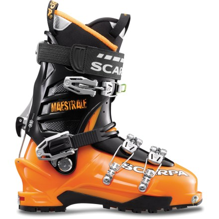 Ski The folks at Scarpa tell us the Maestrale is the world's lightest 4-buckle randonee boot. We haven't weighed every boot ever made, but at only 3,032g (6 lbs. 10 oz.) per pair, it's easy to believe. - $238.93