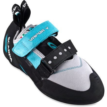 Climbing With sticky rubber and quick hook-and-loop straps, the Scarpa Vapor V rock shoes for women let you spend long days working on hard sport routes and tricky bouldering problems. - $58.93