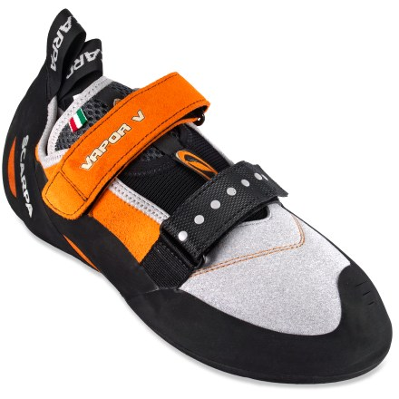 Climbing The Scarpa Vapor V rock shoes offer the traction and fit you need for all-day climbs, and their hook-and-loop fit system makes it convenient to throw on your shoes and just go climbing. - $73.93