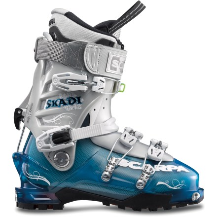 Ski Fly down backcountry runs and tour back up for more with the women's Scarpa Skadi randonee boots. They are designed for excellent performance on both the dowhill and uphill sections of your tour. - $198.93