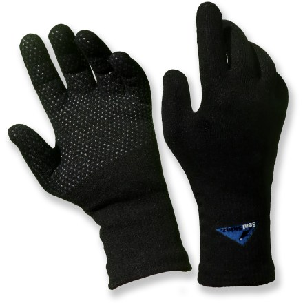Fitness The SealSkinz waterproof gloves have a low-bulk, stretchy fit for excellent dexterity. They're great for active adventures on cool, wet days. Nylon/spandex shells are rugged and stretchy for long-lasting wear and comfort. Waterproof breathable polyurethane membranes ensure your hands stay dry on snowy days; each glove is high-pressure tested to ensure it has no leaks. CoolMax(R) polyester lining helps wick sweat off your hands to keep them dry. Outer shells, waterproof membranes and inner wicking linings are bonded together for a low-bulk fit. Palms on the SealSkinz waterproof gloves are covered with grippy, abrasion-resistant dots for a secure hold on equipment. - $35.00