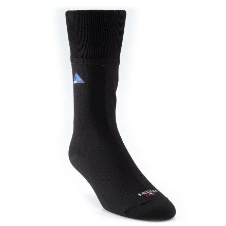 Camp and Hike SealSkinz Waterproof Crew Socks offer waterproof/breathable protection no matter what kind of footwear you use(TM)from hiking boots to sandals. Patented 3-layer bonded fabric: durable nylon/Lycra(R) spandex shell and inner wicking liner surround a waterproof, breathable stretch polyurethane membrane. Nylon/Lycra adds stretch-and-return characteristics for an enhanced fit, to accommodate a range of foot shapes, and to eliminate wrinkles for added comfort. Waterproof polyurethane membrane allows water vapor to transpire through the membrane without allowing liquid water to penetrate. CoolMax(R) inner fabric wicks away perspiration from the skin to increase comfort. Stretchy, snug fit protects against uncomfortable sags and wrinkles and seamless design helps prevent blisters and chafing, even after hours of rigorous activity. SealSkinz Waterproof Crew Socks have an 11 in. mid-calf height. *Discount will be applied when you check out. Offer not valid for sale-price items ending in $._3 or $._9. - $40.00
