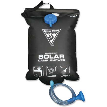 Camp and Hike Lightweight and packable in design, this four-gallon solar-heated shower bag lets you enjoy a warm shower in the wilderness. PVC-free black PEVA water reservoir is heavy duty yet lightweight for easy packing. Black color absorbs heat to warm water in approximately three hours. Four-gallon capacity bag provides enough water for a couple of quick showers; measures 23 x 18 inches. Push-pull valve on hose is easy to use, allowing you to turn water off quickly. Sturdy plastic handle offers convenient toting and durability; hanging strap is adjustable. Great for family campers, boaters and hunters. - $15.93