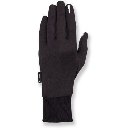 Camp and Hike The Seirus SoundTouch(TM) Deluxe Thermax(R) liner gloves fit easily under shell gloves and provide warmth for chilly days. Plus, you can control your smartphone without taking the gloves off. - $19.95