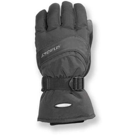 Ski Nobody likes to have cold hands while riding the chair lift to the top of the hill. Keep your fingers warm on midwinter days with the Seirus Nvader(TM) Neofleece(R) gloves. Durable nylon exteriors have waterproof, breathable inserts to keep your hands dry while you're having fun in the snow. Fixed Neofleece liners feature neoprene and polyester fleece for excellent warmth on cold days. The addition of Thermolite polyester insulation ensures your hands will be toasty warm. Gauntlet cuffs have inner cuffs that seal around your wrists to keep cold air out. Seirus Nvader(TM) Neofleece(R) gloves have leather palms to give you a good grip of your ski poles. Cinch the wrist straps to fine-tune the fit. - $34.93