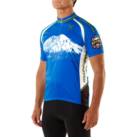 Fitness From your first view to your first RAMROD (Ride Around Mt. Rainier in One Day), you've respected ''the mountain.'' Show it with this cycling jersey. Micropelle(R) polyester fabric wicks moisture away from your skin, keeping you dry and comfortable. Three-quarter-length front zipper allows ventilation control and will not interrupt graphics when zipped up. Sublimated graphics are brilliantly bold, will not fade and do not inhibit breathability or garment's ability to wick moisture. Three back pockets hold your energy food and other essentials. Traditional collar with classic stand-up neck band. Elasticized waist and cuffs. Machine washable. - $80.00