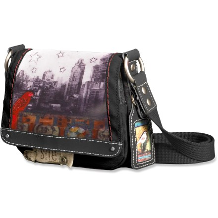 Entertainment The Petal Mini Shoulder Purse from Sherpani is made from natural-fiber cotton canvas with soft faux-leather trim. It's decorated with original printed artwork by artist Cathy Nichols. - $25.83