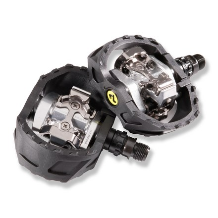 MTB These off-road sport pedals from Shimano feature dual-sided, pop-up bindings and large, stable cages. - $50.00