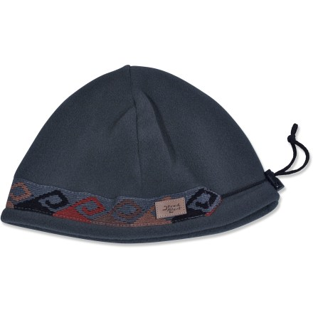 Entertainment The Shred Alert Hippy beanie keeps your head happy on a cold winter day. Polyester fleece is soft and comfortable. Colorful images decorate the organic cotton headband for added character. 4 panels hug your head; adjustable cordlock customizes the fit. - $16.83