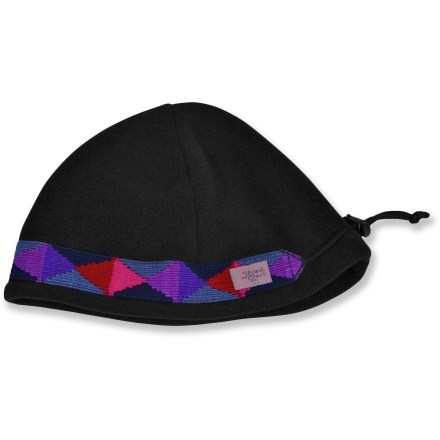 Entertainment Keep your noggin peaceful and warm on a cold day with the Shred Alert Hippy beanie. Polyester fleece is soft and comfortable. Colorful images decorate the headband for added character. 4 panels hug your head; adjustable cordlock customizes the fit. - $14.83