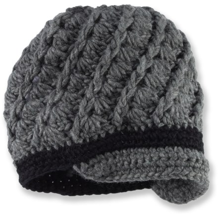 Entertainment The hand-chrocheted Shred Alert Newport beanie with short brim adds style to any outdoor adventure. Soft acrylic fabric is comfortable next to skin. - $22.93