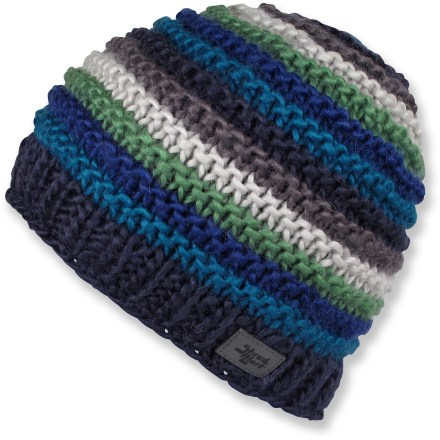 Entertainment The colorful Shred Alert Nicoletta beanie is brought to life by the contoured, ribbed stripes. Wool/acrylic blend exterior is lined around the earband with soft and warm microfleece for great comfort next to skin. - $25.93